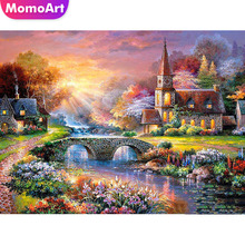 MomoArt Diamond Painting Sunset River Embroidery Landscape Mosaic Full Square Drill Rhinestone Home Decor