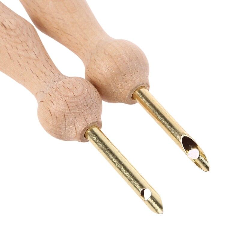 Ручки для вышивания с деревянной ручкой, эргономичный дизайн, инструменты для плетения, 87HA, 2 шт./компл.