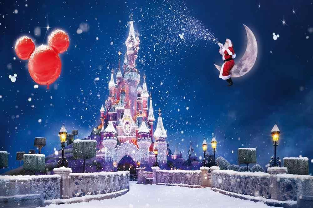 Capisco hiver pays des merveilles photographie décors noël ballons château flocon de neige père noël Photo arrière-plan Studio accessoires