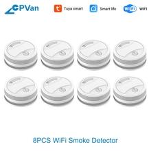 CPVan SM05W 8pcs/Lot Smoke Detector WiFi Smart Life Tuya APP Smoke Sensor Smoke Detector WiFi Alarm Detector detector de humo