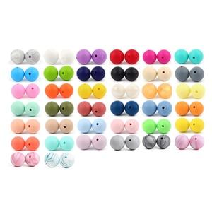 Image 1 - 500 perles en Silicone 15mm, de qualité alimentaire, perles rondes à sucette chaîne, pendentif pour bébé, anneau de dentition à faire soi même