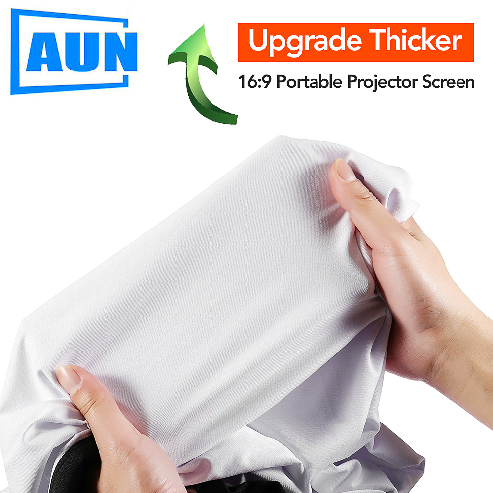 AUN Upgrade Thicker Projector <font><b>Screen</b></font>, Optional 100/<font><b>120</b></font>/133 inch <font><b>16:9</b></font>, Foldable Portable White cloth material for Home theater image