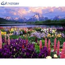 Картина по номерам gatyztory «сделай сам» в рамке цветы пейзаж