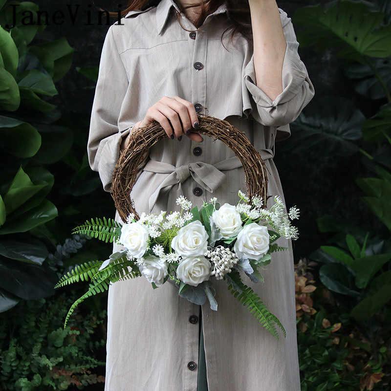 JaneVini VINTAGE ผ้าไหมเจ้าสาวพวงหรีดดอกไม้ตะกร้าจัดงานแต่งงานสีส้มสีชมพูกุหลาบประดิษฐ์สีเหลืองเจ้าสาว