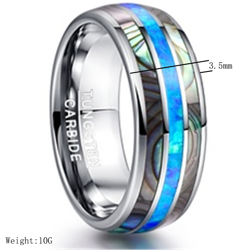 Qevila New Fashion Rings Jewelry Simple Tungsten Carbide Shell Men Ring Casual Blue Fire Silver Ring for Men party Dropshipping (1)