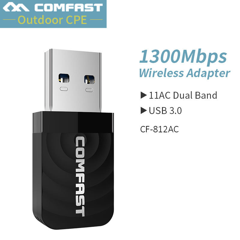 Comfast CF-812AC High Power 1300Mbps Mini Network Card Dual Band 2.4G&5.8G Wifi Transmit Receive Wifi Signal Support For Windows