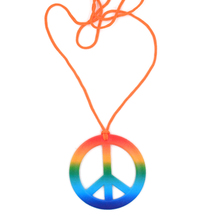 6Pcs Colorful Rainbow Peace Sign Pedant Necklace Set Halloween Party Supplies Hippie Accessories for Unisex Decoration