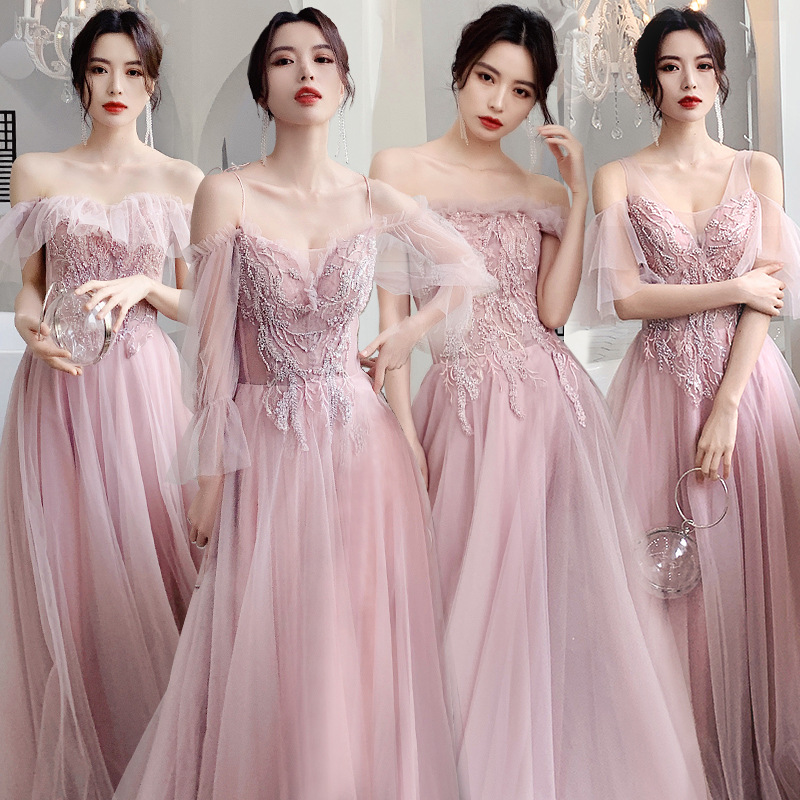 Bridesmaid Dresses Sequin Beading A-Line Long Wedding Guest Vestidos Boat Neck Elegant Dress Off The Shoulder Formal Gowns R034