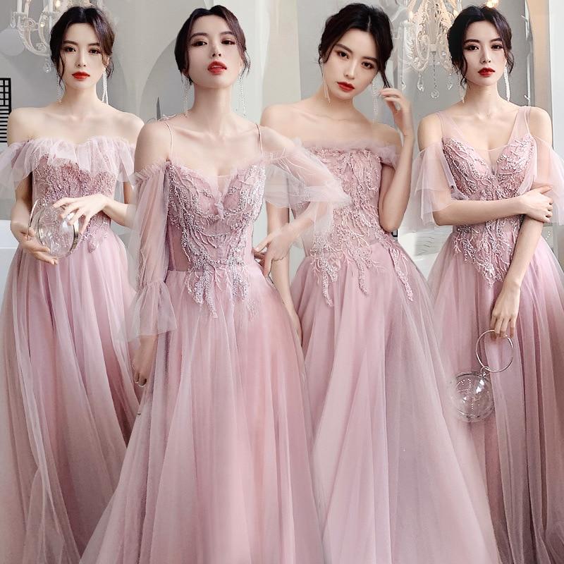 Bridesmaid Dresses Sequin Beading A-Line Long Wedding Guest Vestidos Boat Neck Elegant Dress Off The Shoulder Formal Gowns R034