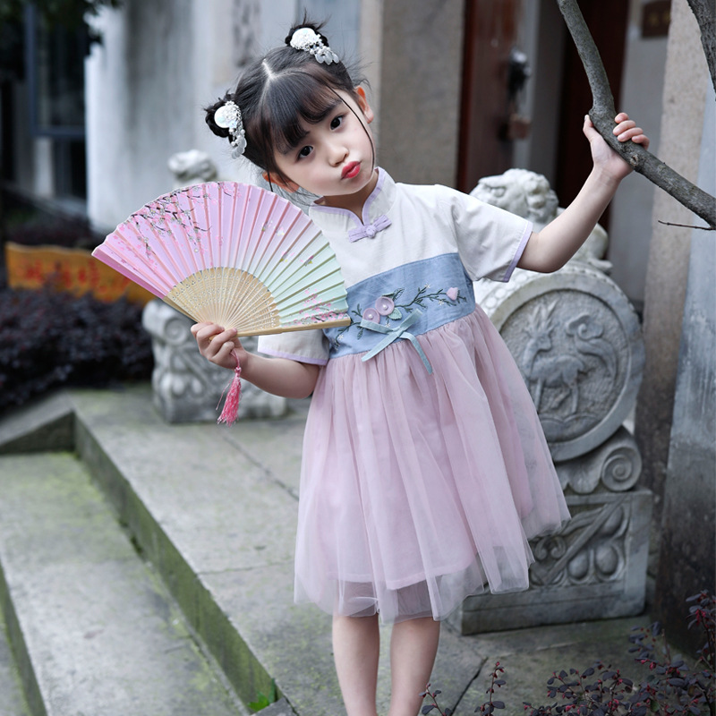 2019 Summer New Style Girls Chinese Clothing Flower Joint Network Mesh Dress Ethnic-Style Western Style Cute Princess Puffy Mesh