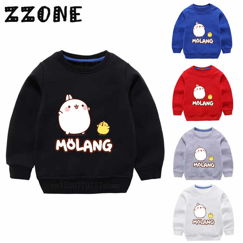 Children's Hoodies Kids Molang and Piupiu Cartoon Rabbit Sweatshirts Baby Cotton Pullover Tops Girls Boys Autumn Clothes,KYT5217