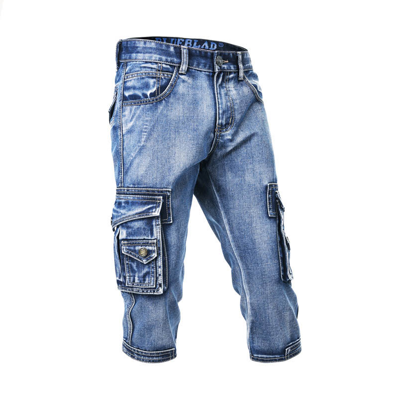 Mcikkny Fashion Men's Cargo Denim Shorts With Multi-pockets Straight Slim Fit Casual Short Jeans For Male Washed Size 29-38