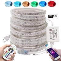 Listwy RGB LED światła sterowanie przez Wifi + pilot zdalnego 5050 60 diody LED/m elastyczna taśma LED 110V 220V wodoodporne wstęga LED biały/ciepły biały/niebieski