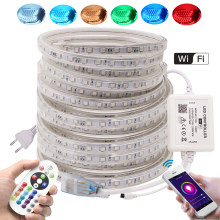 Tira de luces LED RGB con Control remoto y Wifi, cinta Flexible LED de 5050 V y 110V, impermeable, color blanco, Blanco cálido y azul, 220 Leds/m
