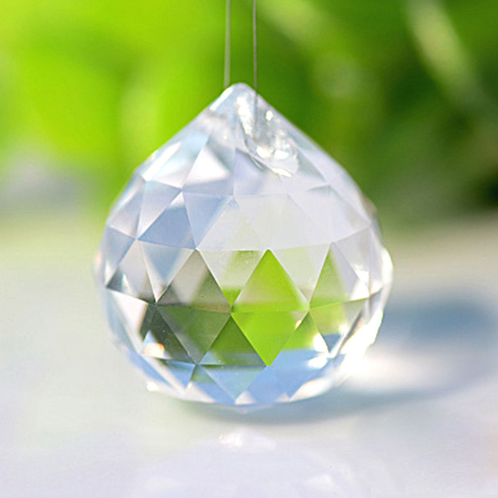 New 1PC Faceted Glass Crystal Chandelier Parts Clear Suncatcher Lamp Home Decoration Pendant Prisms Lighting Ball Decor