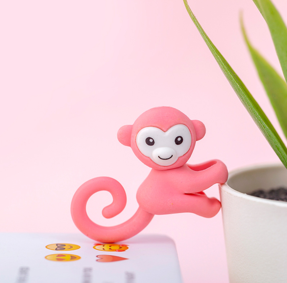 2pcs Little Monkey Cute Rubber Pencil Eraser Stationary School Supplies Items Kawaii Office Cartoon Kids Gift Students Prizes