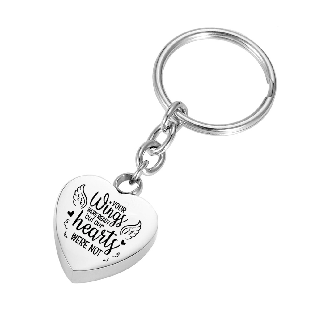 Angel wings ashes memorial pendant keychain stainless steel heart-shaped cremation jewelry urn item keepsake