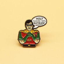Batman Robin brooch and enamel pins Men and women fashion jewelry gifts anime movie novel lapel badges лонгслив printio robin nightwing and batman
