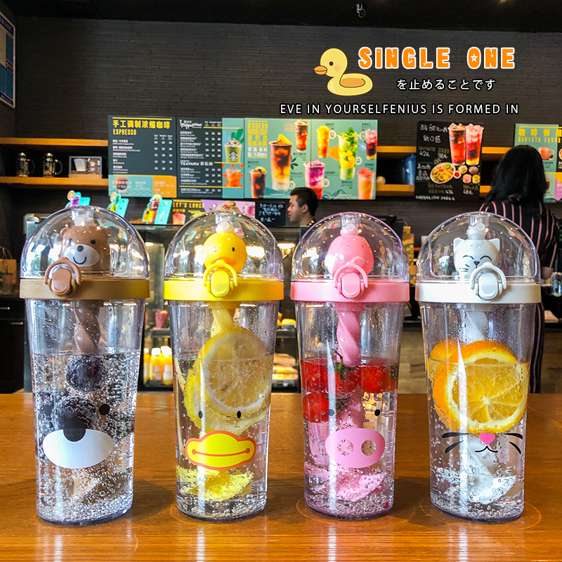 New Hot Creative Plastic Straw Water Bottle Cute Animal Drinking Cup Portable Large Capacity For Student Adult Kids Mixing Cups