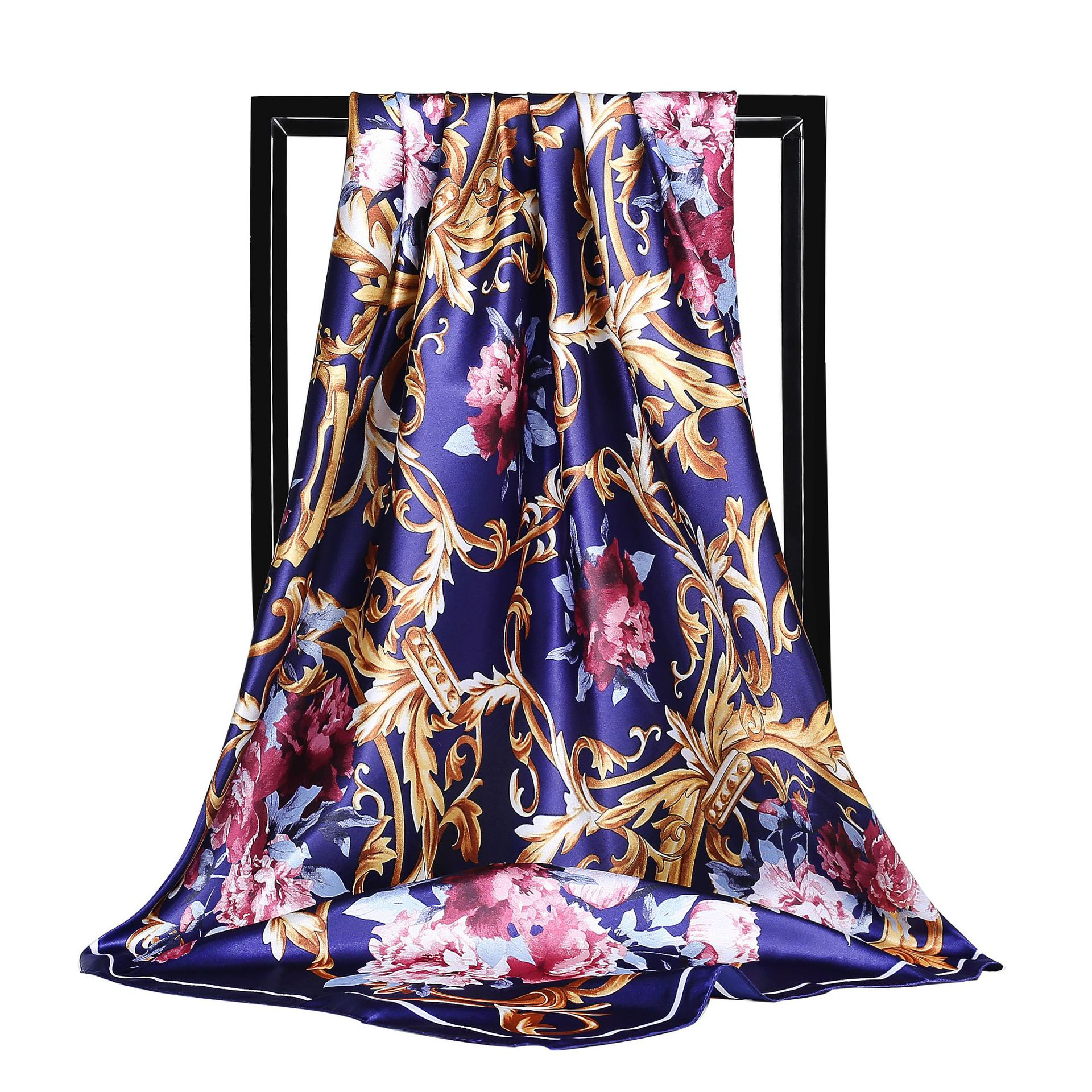 Hijab Scarf Women Luxury Brand Faux Silk Scarfs Foulard Flower Printed Square Head Wraps New Vintage Satin Shawl 90*90cm