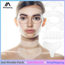 18 unids/set de silicona Anti arrugas parches para Estiramiento facial cintas almohadillas reutilizables pecho frente cuello la piel ojo la eliminación de arrugas pegatinas
