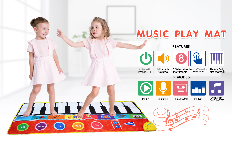 H60100364f4ae47f6a660a23539595163w Large Size Musical Mat Baby Play Piano Mat Keyboard Toy Music Instrument Game Carpet Music Toys Educational Toys for Kid Gifts