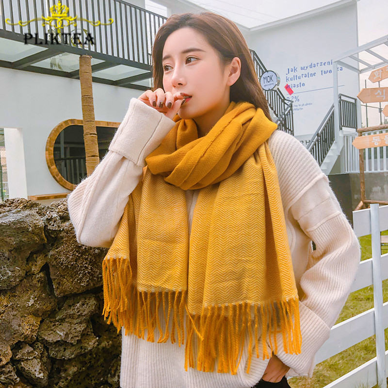 Women's Yellow Tippet Scarf Shawl Faux Cashmere Gray Foulard Femme Patchwork Solid Color Female Winter Hijab Scarf Stole Wrap