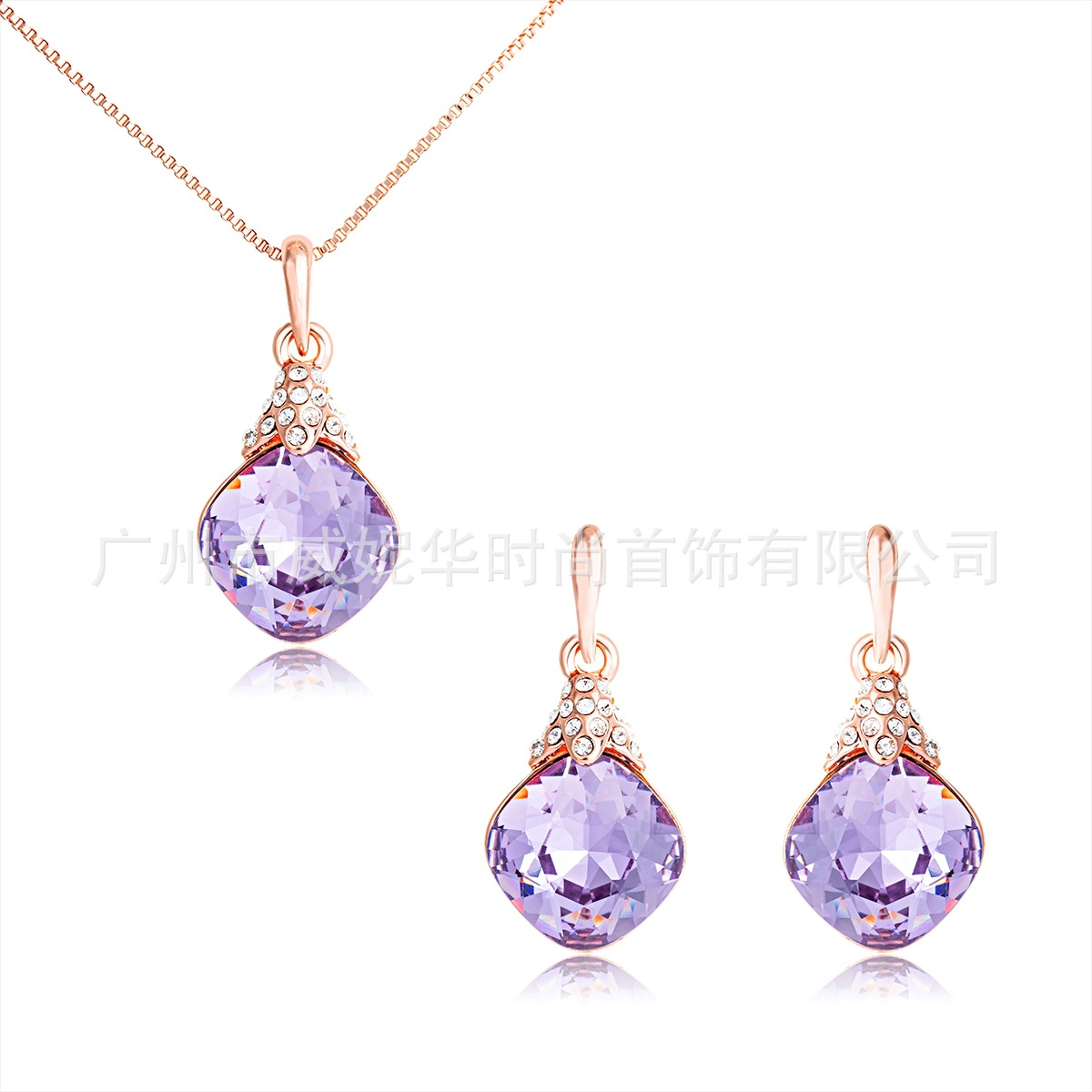 Jewelry-Set Viennois Necklace Drop-Earrings-Set Crystal Fashion Alloy Bela Rhombus Princess-Style