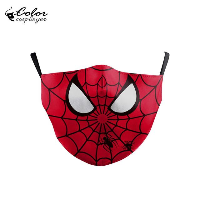 Color Cosplayer Cute Spider Face Fabric Mask Kids Cartoon Print Masks Reusable Mask Children Masks Washable 1