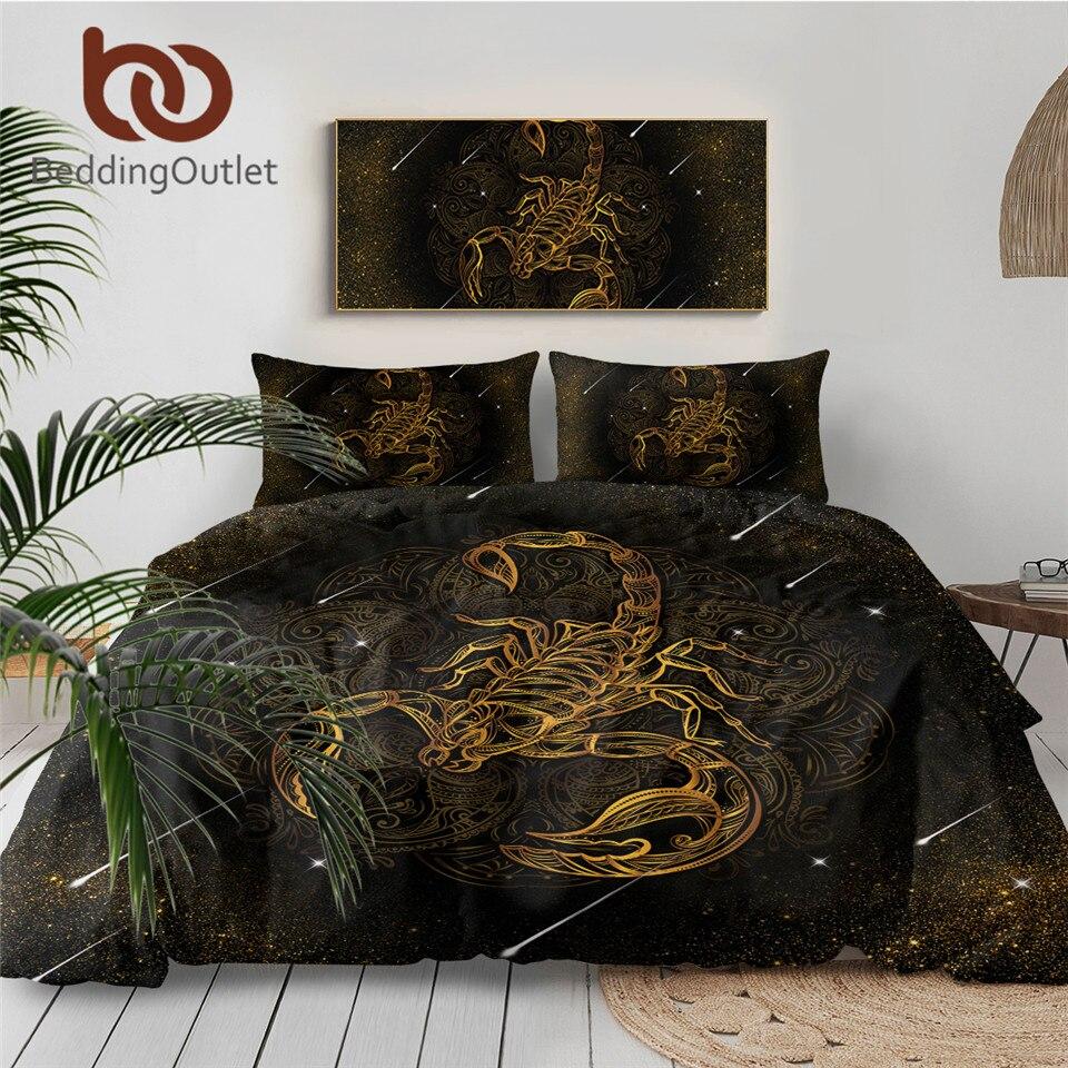 Gold Scorpion Bedding Set Queen Meteor