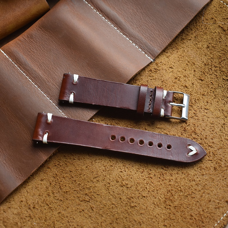 Hand Made Genuine Vintage Leather Watch Strap Hand Stitched Retro Watchband With Quick Release Steel Spring Bars 20mm 22mm 24mm