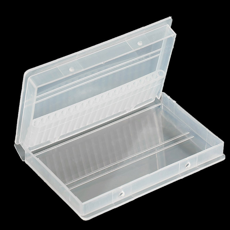 1pc 20/30 Holes Plastic Holder Transparent Nail Drill Bit Acrylic Box Display Stand Container For 3/32