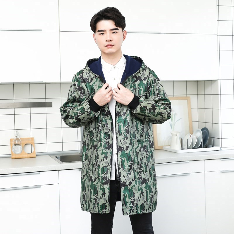. Anti-Dirty Overclothes Long Sleeve Men's Adult Plus Velvet Protective Clothing Thick Winter Waterproof Coat Apron Unlined Long