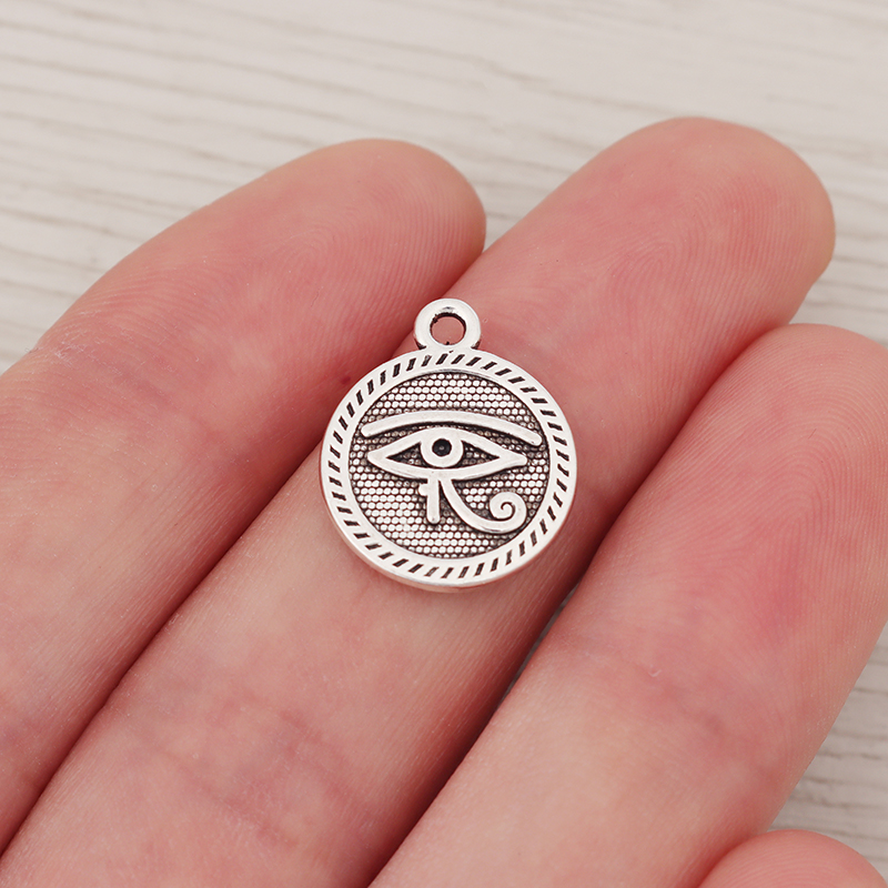 30 x Tibetan Silver Eye Of Horus Egyptian Pagan Wiccan Symbol Charms 2 Sided Pendants For Necklace Jewelry Making <font><b>15x15mm</b></font> image