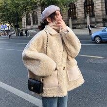 Lamb wool autumn and winter loose fur one thick plush short lamb wool plus fat coat jackets women  wool coat
