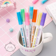 Bunte Doppel Linie Umriss Stift Highlighter Leuchtstoff Marker Candy Farbe Student Multicolor Hand Note Stift Für Schule Poster