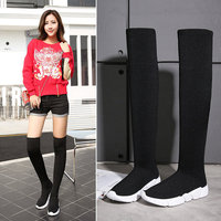 2019 autumn new long tube socks shoes wedges boots over the knee boots high to help knitted elastic boots women