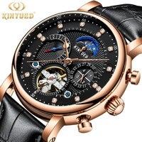 KINYUED New diamond scale tourbillon steel watch men automatic mechanical watch man calendar watches moon phase waterproof clock|Mechanical Watches|   -