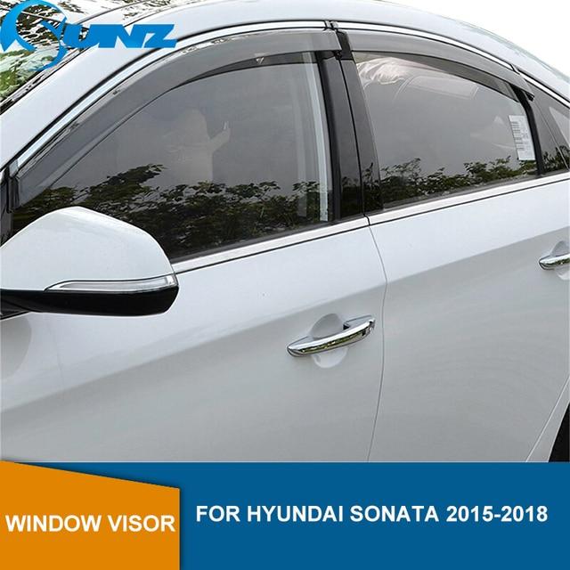 Side Window Deflectors For Hyundai Sonata 2015 2016 2017 2018 Smoke Window Visor Vent Shades Rain Deflector Guards SUNZ