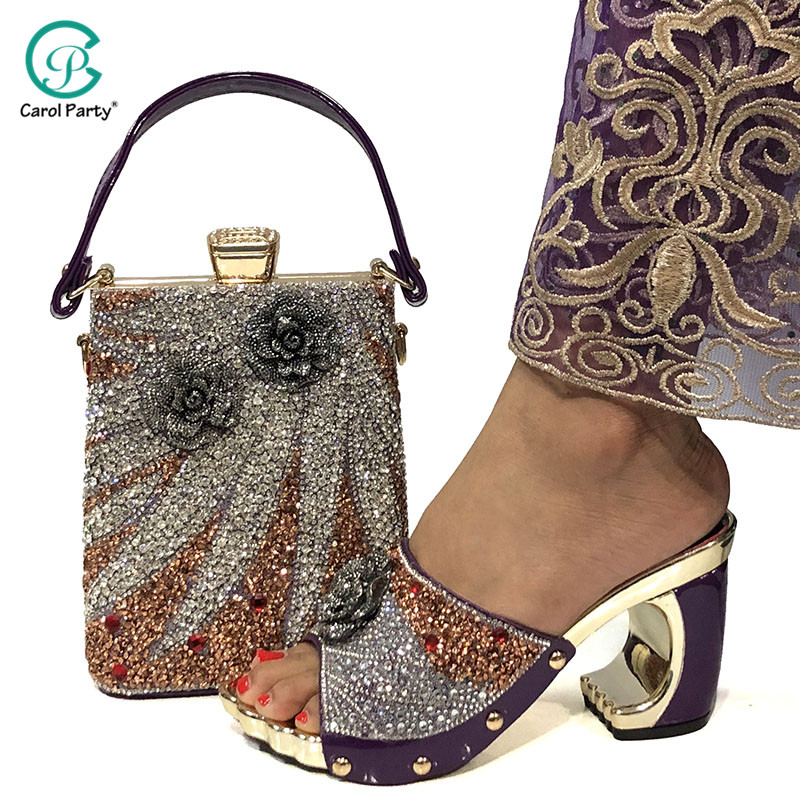 New Arrival Purple Color Italian design Shoes and Bags Matching Set Decorated with Appliques Shoes and Bag for Party