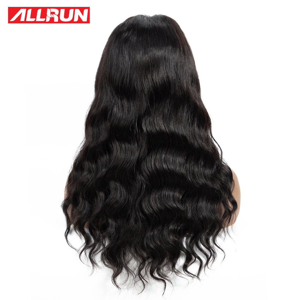 H6010edbd2cfc42f093093170ab6ae404L Allrun 4*4 Lace Closure Wig Malaysia Human Hair Wigs Body Wave 130% Low Ratio with baby hair Non-Remy Short Bob Lace Wig
