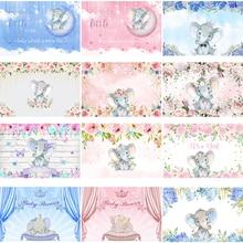 Mocsicka Слон детский душ фон розовый и синий день Рождения Вечеринка фотография Фон акварель цветочные украшения баннер