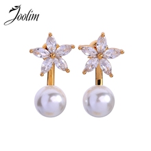 Joolim High Quality Glass Cubic Zirconia Flower Convertible Earring Delicate