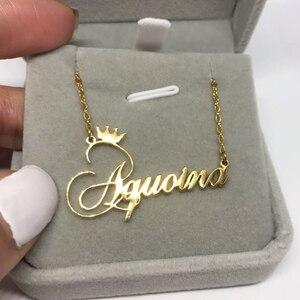 Рождественский подарок, Очаровательная Корона, чокер, персонализированное имя, массивное ожерелье для женщин, BFF, ювелирное изделие, цепочк...