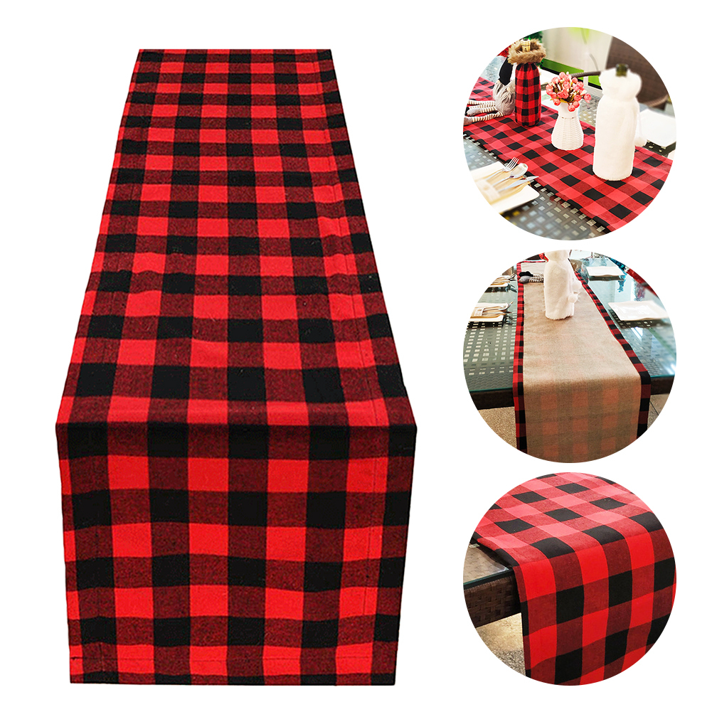 Christmas Table Runner Red Black Cotton & Burlap Buffalo Check Double Sided Plaid Table Runner For Christmas Table Decoration