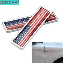 DSYCAR 1 par 3D etiqueta de Metal de coche América Bandera Nacional coche cuerpo tronco de personalidad decoración etiqueta engomada del estilo de coche nuevo