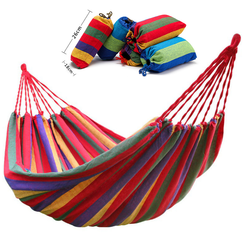 Canvas Hammock Hanging-Chair Garden Swing Outdoor Double-Wide Camping Blue Red Thick title=