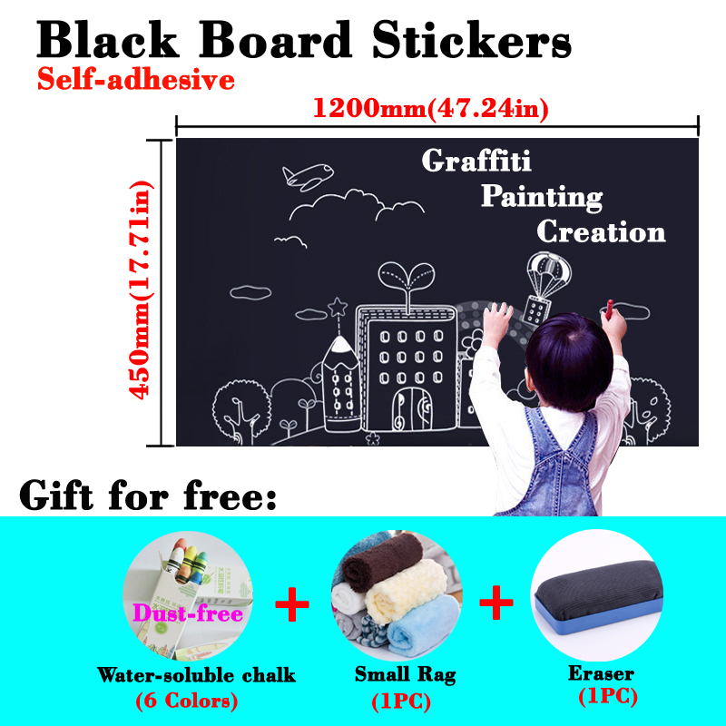 Size 45 X 120CM Self-adhesive Blackboard Wall Sticker Teaching Graffiti Safe Non-toxic Chalk Dry Erase Painting Board