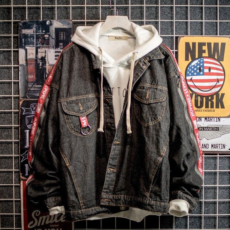 2019 Men\'s Casual Bomber Jacket Men\'s Hip Hop Men\'s Retro Denim Jacket Jacket Streetwear Men\'s Fashion Denim Jacket