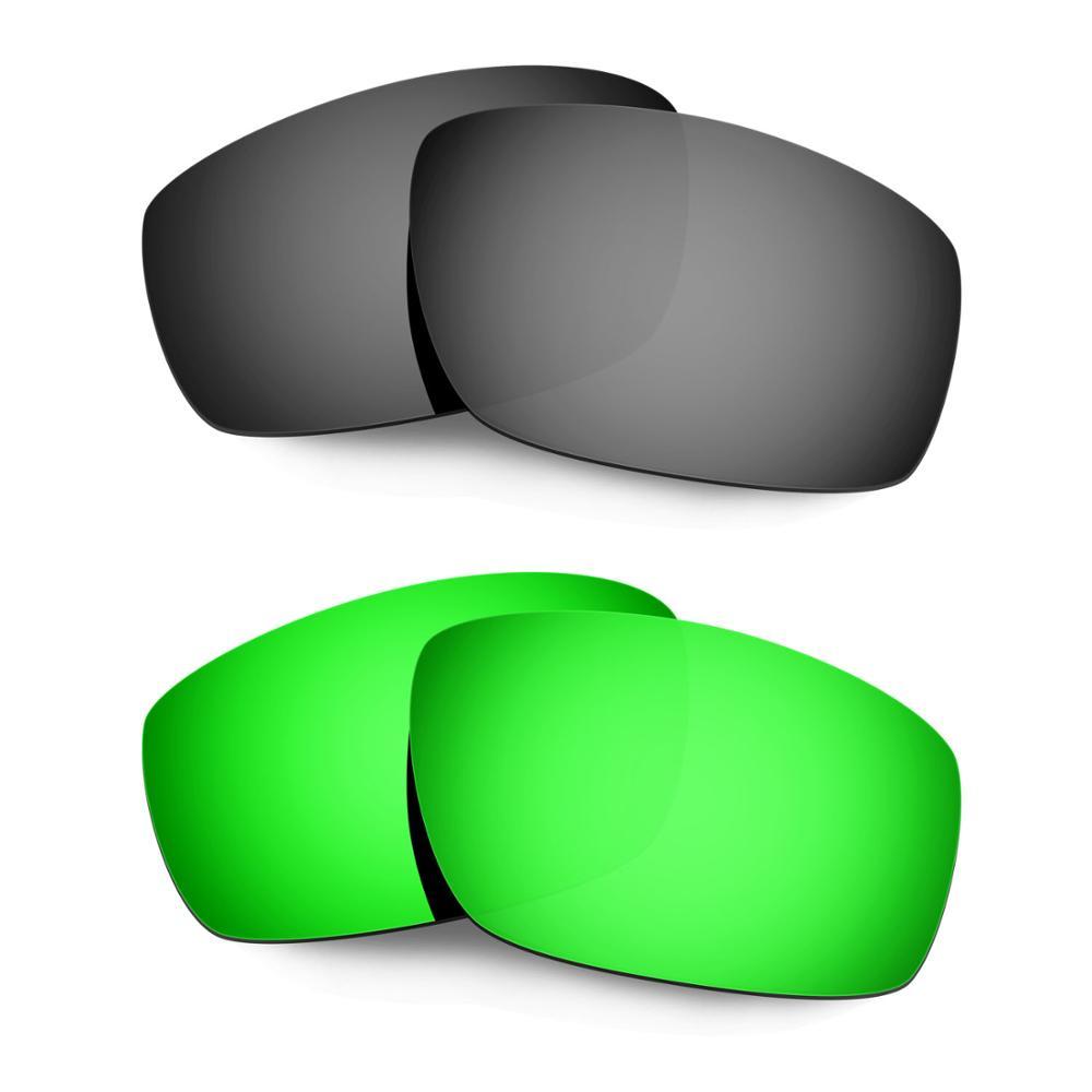 HKUCO For Splinter Sunglasses Replacement Polarized Lenses 2 Pairs - Black&Green